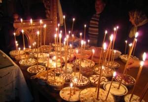 Фото освящения кутьи (колива) для поминок усопших
