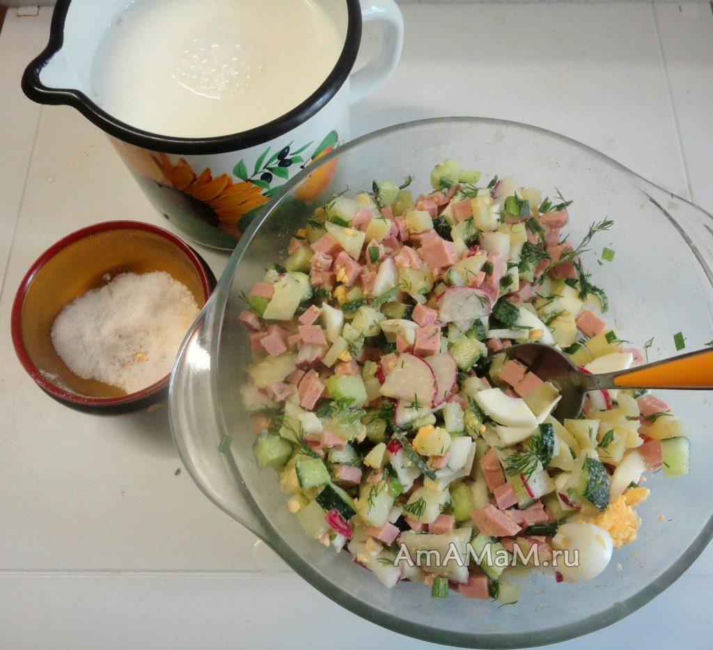 Рецепты окрошки на кефире пошаговый рецепт