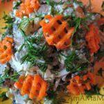 Салат с печенью, грибами и морковкой (Обжорка)