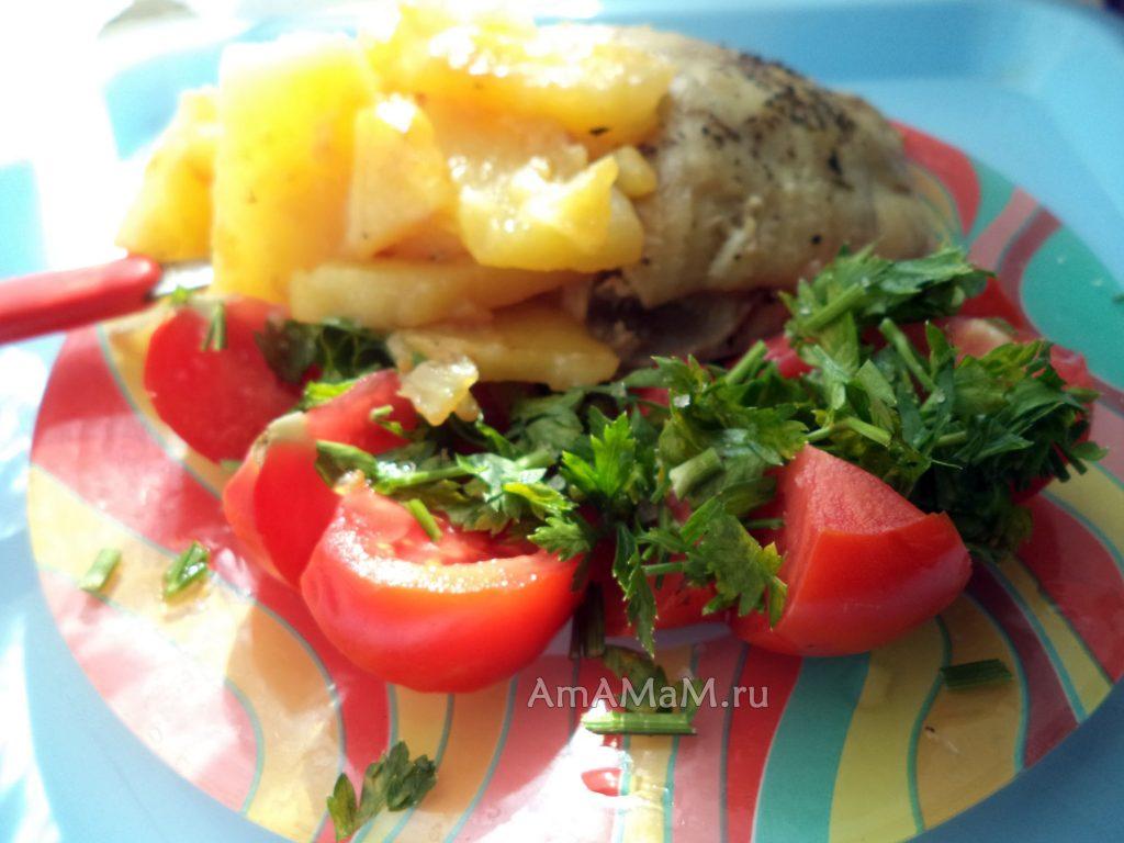 Рецепт жареной картошки и курицы