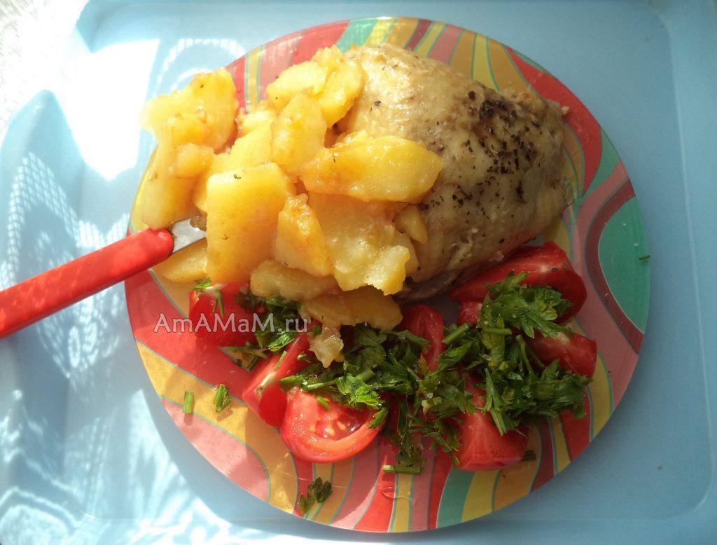 Курица с картошкой -как жарить одновременно