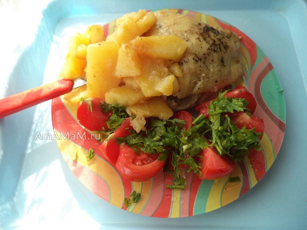 Курица с картошкой - жарить одновременно
