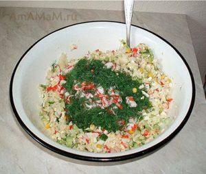 Рецепт салата из крабовых палочек с огуцом