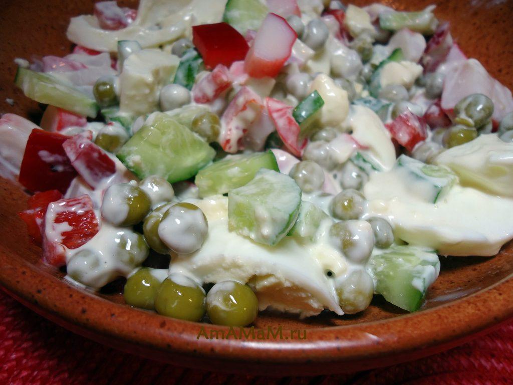 Рецепт салата из крабовых палочек с огурцами и горошком