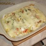 Минтай запечёный с овощами и сыром