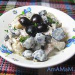 Салат из мяса с ананасами, виноградом и орехами