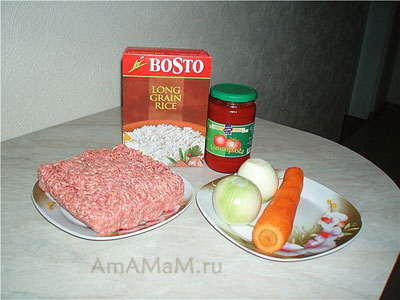 Все, что нужно для рецепта мясных ежиков