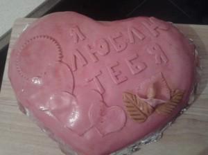 Приготовление мастики из маршмеллоу для торта - фото готового торта в форме сердца