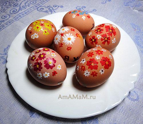 Роспись яиц акриловыми красками - фото