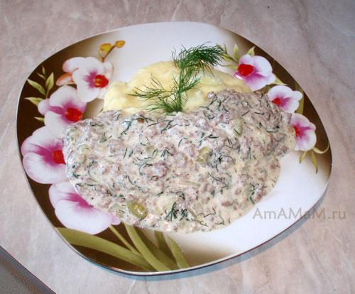 Мясная подливка из фарша со сметаной- рецепт