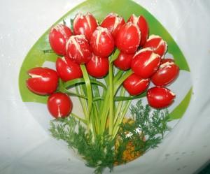 Как сделать тюльпаны из помидоров - рецепт салата и фото приготовления