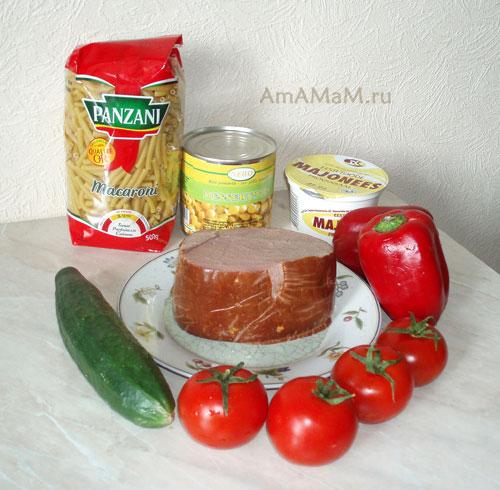 Состав итальянского салата из макарон и ветчины