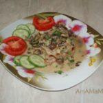 Свиной карбонад Каприз в сливочно-грибном соусе
