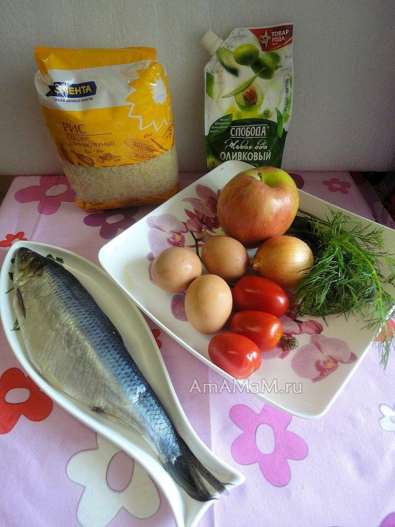 Из чгео готовят салат с селедкой и рисом - состав продуктов