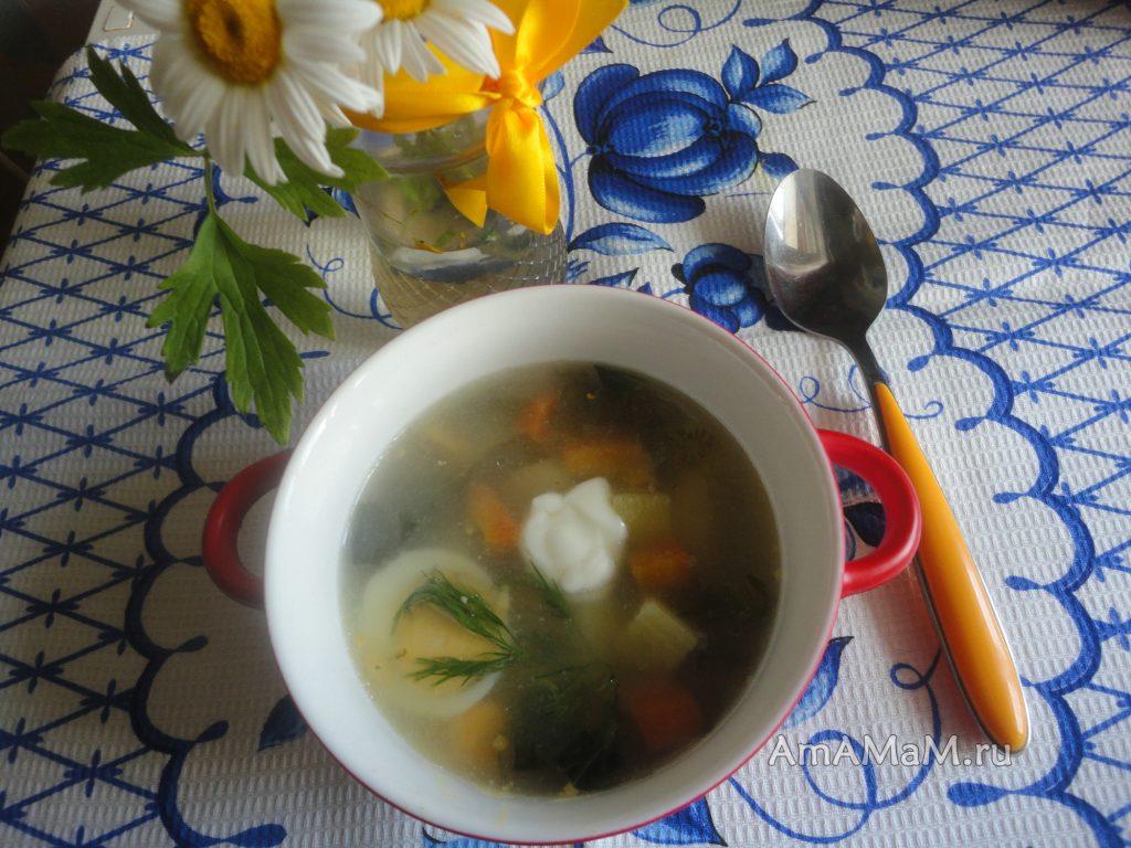 Зеленые щи с рисом и яйцом на мясном бульоне - рецепт и фото