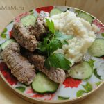 Бефстроганов (говядина брусочками в сметанном соусе)