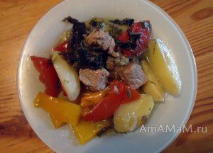 Вкусное мясное рагу из овощей со свининой