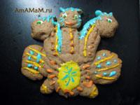 Змей Горыныч из пряничного теста с тремя головами