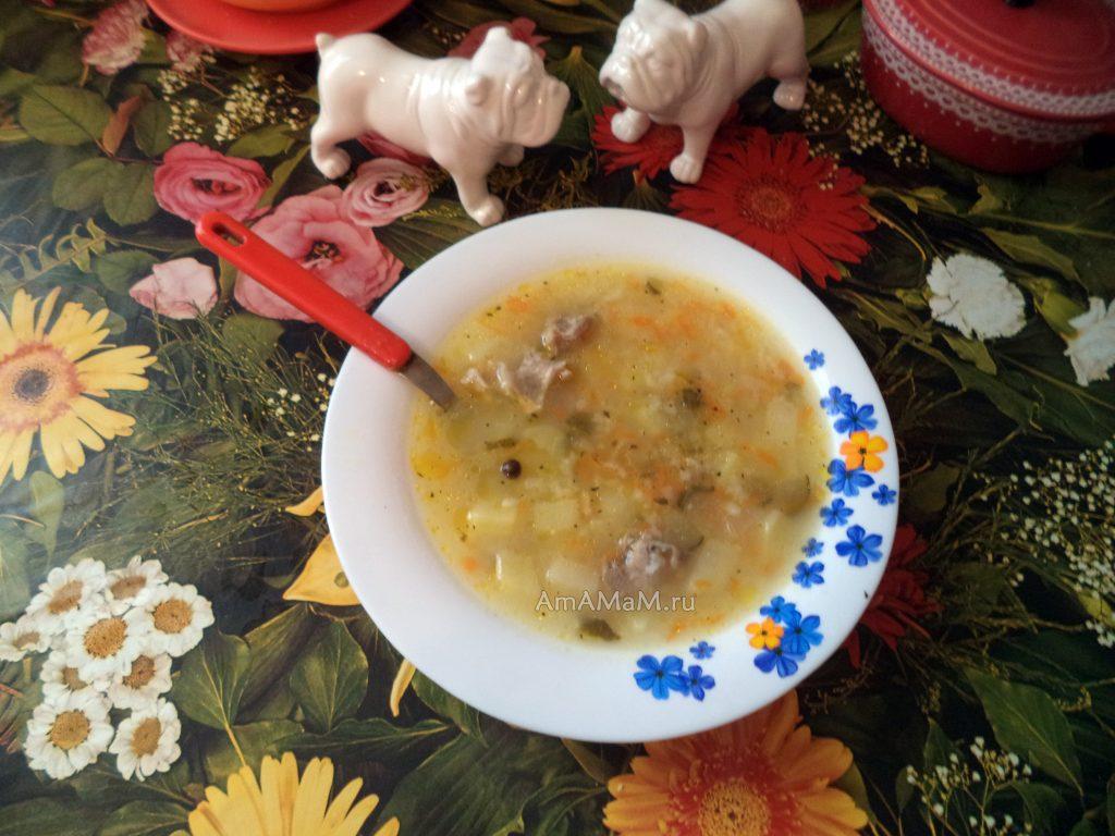 Вкусный рецепт рассольника с рисом и свининой