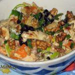 Куриный салат с тыквой, черносливом и орехами (пикантный)