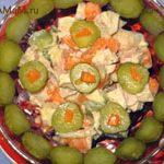 Салат из курицы с тыквой, медом и имбирем