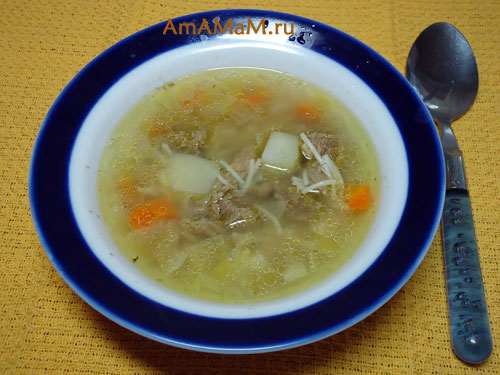 Простой рецепт супа с говядиной и вермишелью и фото