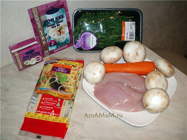 Ингредиенты тайского супчика на кокосовом молоке с курицей