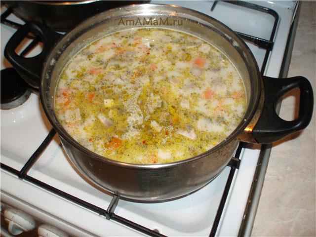 Суп Том ка гай в кастрюле на плите, фото