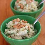 Мясной салат с рисом, огурчиками, миндалем и коньяком