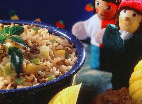 Рецепт оригинального салата с мясом и рисом - очень вкусно!