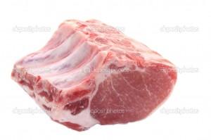Кусок мяса для свиных отбивных на косточке