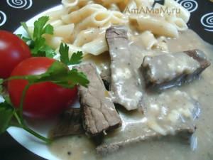 Рецепт отварной говядины под соусом (сырным)