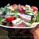 Салат из стручковой фасоли с ветчиной