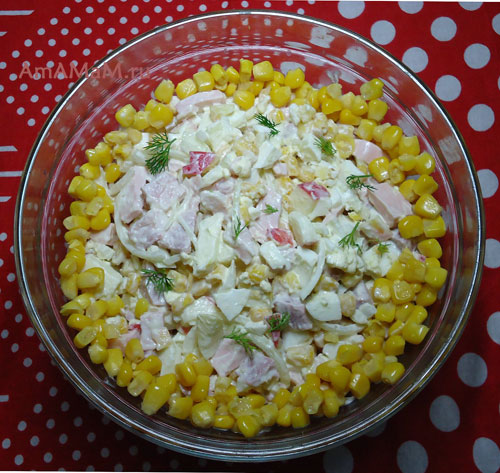 Что приготовить из яиц, копченого мяса и кукурузы - рецепт простого салата