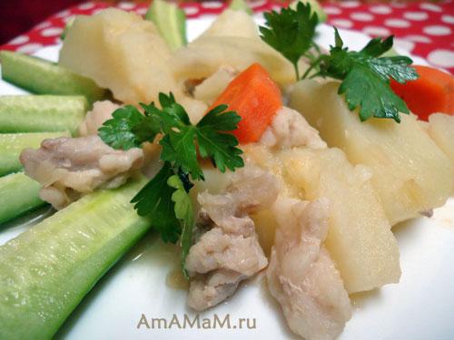 Вкусная домашняя еда из мяса и картошки с чечевицей - простой рецепт с фото.
