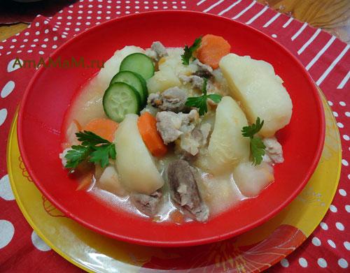 Картофельное рагу со свининой и красной чечевицей - способ приготовления и фото