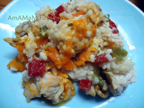 Рисовая начинка с куриной грудкой и болгарским перцем для тыквы