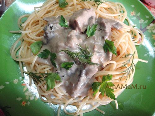 Что сделать из говядины и вешенок - простой и вкусный рецепт подливки со сметаной к макаронам