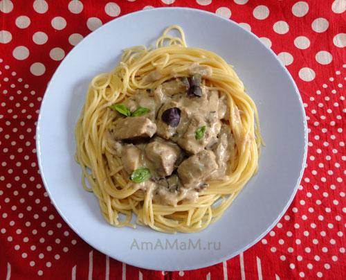 Вкусный ужин с мясом, спагетти и грибами - как приготовить - рецепт и фото