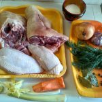 Приготовление холодца из рульки с курицей - ингредиенты