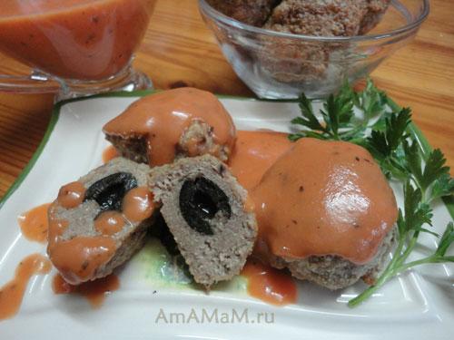 Блюда с маслинами и оливками - рецепт вкусных котлеток с пикантной начинкой