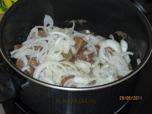 Мясо и лук в кастрюле - приготовления вкусного рагу