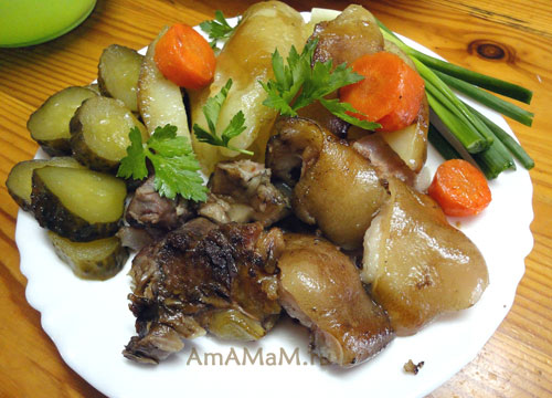 Вкусное блюдо из рульки с картофелем