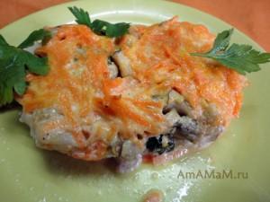 Рецепт дорадо в духовке (рыбное филе с грибами и морковкой с майонезом)