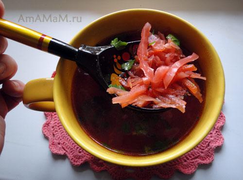 Способ нарезки овощей для борща с рецептом