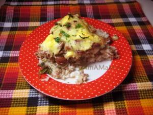 Рецепт запекания фасоли с рисом и фаршем в духовке.