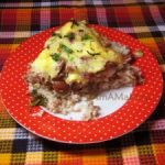 Рис с фаршем и фасолью в духовке