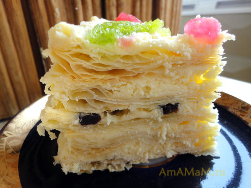 Наполеон на скорую руку из замороженного теста - рецепт торта с фото
