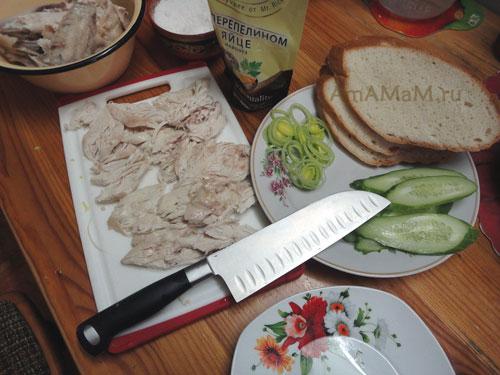 Как выглядит нож Сантоку - фото и рецепт вкусных бутербродов с куриной грудкой и огурцом