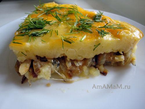 Как готовят картофельную запеканку с грибами - рецепт